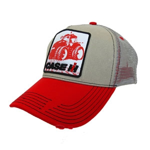 fcf71e3d0ec35 Case IH hat Magnum tractor Khaki with mesh   red bill
